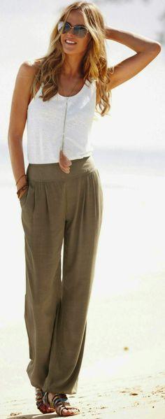 le pantalon taille haute pour la plage                                                                                                                                                                                 Plus