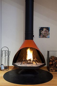 Amazing orange vintage mid century electric fireplace ...