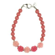Flower Girl Pink and Rose Flowers and Coral Pearl Bracelet