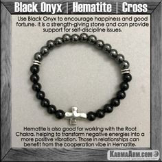 Use Black Onyx to encourage happiness and good fortune. Black Onyx is a strength-giving stone and can provide support for self-discipline issues.....Mala Yoga bracelet - Law of Attraction. manifest. #LOA Mens Womens charm chakra beaded stacks. Hematite Black Onyx Cross.