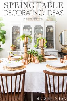 Create fresh, happy spring vibe in your dining room with this super simple spring table decorated with copper, succulents, and hanging plants! Plus find 30 spring table decorating ideas. Porches, Table Place Settings, Christmas Place, Spring Home Decor, Dining Room Table, Dining Rooms, Hanging Plants, Happy Spring, Super Simple