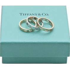 Pre-owned Tiffany & Co 18k Gold Diamond Set 3 Atlas Pierced Ring Band... ($1,999) ❤ liked on Polyvore featuring jewelry, rings, accessories, diamond band ring, 18k diamond ring, pre owned diamond rings, 18k yellow gold ring and gold jewelry