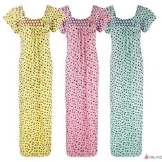 LADIES 100% COTTON NIGHTIE POLKA DOT LONG NIGHTDRESS LOUNGER 8-16 in Clothes…