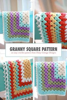 Learn how to make this classic crochet blanket pattern. This large granny square. : Learn how to make this classic crochet blanket pattern. This large granny square crochet pattern is perfect to make for any new mom – including you! Crochet Afghans, Baby Afghan Crochet Patterns, Crochet Baby Blanket Free Pattern, Crochet Square Patterns, Crochet Squares, Crochet Granny, Free Crochet, Crochet Cushions, Crochet Blocks