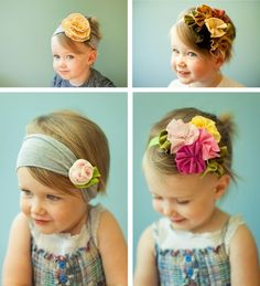 headbands such cute kids! this headband thing is a great idea and soooo pretty on little girls :-) Baby Kind, My Baby Girl, Baby Love, Creation Couture, Hairbows, Kind Mode, Diy Hairstyles, Fabric Flowers, Hair Flowers