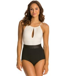 Carmen Marc Valvo Classic Dimension High Neck Belted One Piece Swimsuit at SwimOutlet.com - The Web's most popular swim shop
