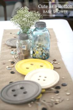 Cute as a Button Baby Shower - love this idea for a boy or girl shower!