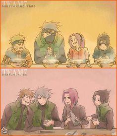"Team 7 past and present: ""今日はトクベツにおこってあげる. まだまだよろしく、先生"" (Today is special. You're still well, sensei) [Fanart, <3] #kakashi #naruto #sakura #sasuke ~I'm not sure if I got the translation right, but aww I wish this would really happen"