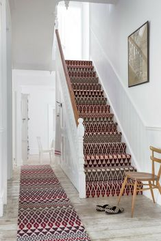 Fair Isle print stair runner by Margo Selby for Alternative Flooring Wall Carpet, Bedroom Carpet, Rugs On Carpet, Carpets, Fur Carpet, Black Carpet, Patterned Stair Carpet, Textured Carpet, Bohemian Style Home