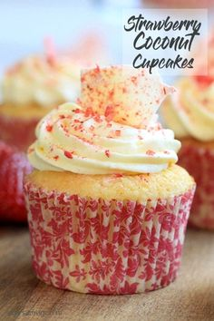 Coconut Strawberry Cupcakes with Cream Cheese Frosting by Sugar Salt Magic. via Sugar Salt Magic such as chocolate, good fresh fruit, and hazelnut, pl. Cupcake Creme, Cupcake Muffin, Cupcakes With Cream Cheese Frosting, Coconut Cupcakes, Strawberry Cupcakes, Yummy Cupcakes, Cheese Cupcake, Ladybug Cupcakes, Kitty Cupcakes