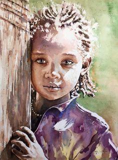 Adán J Céspedes Watercolor Ethiopia 53x63. www.adanjcespedes.com