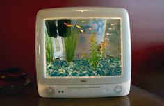 Turn Your Old iMac into an Aquarium with the DIY Macquarium Kit. Dan says we need this in our apple library, along with the iMac mirror Aquariums Super, Amazing Aquariums, Conception Aquarium, Cool Fish Tanks, Unique Fish Tanks, Betta Tank, Diy Vintage, New Retro Wave, Aquarium Design
