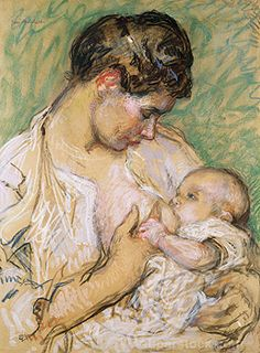 gari melchers paintings - Mother and Child pastel