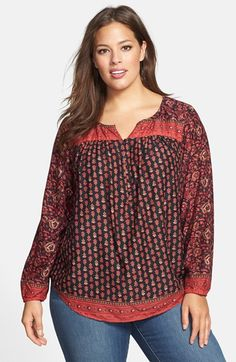 Lucky Brand Mixed Print Peasant Top (Plus Size) available at #Nordstrom