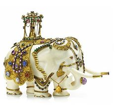 An Antique Multi-gem, Ivory and Gold Elephant Sculpture, 19th Century. Via FD Gallery, www.fd-inspired.com