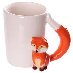 Coffee Mug Ceramic Novelty Style Fox Shaped Handle by getgiftideas