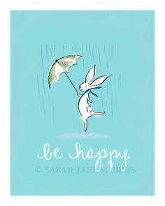 'Be Happy' : Children's Wall Art/Nursery Print by Sarah Jane Studios