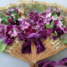 Vintage French Silk FAN Embellished w Vintage Velvet MILLINERY Flowers VIOLETS +