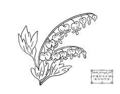 Embroidery transfer design for bleeding heart flowers