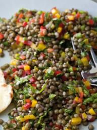 Black Lentil and Bell Pepper with Mint Salad