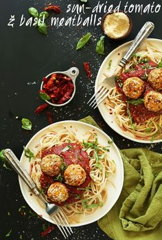 EASY Vegan Chickpea Meatballs infused with Sun-Dried Tomatoes and Basil! The perfect weeknight or special occasion #plantbased meal! #vegan #recipe #meatball #pasta #dinner #healthy #italian #minimalistbaker