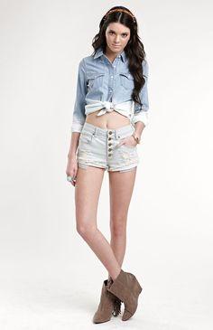 Kendall & Kylie Frostbite High Waist Shorts