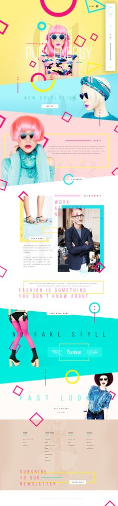 Graphics flowing across entirity of page. 3-4 major colors, 3 fonts, varying…
