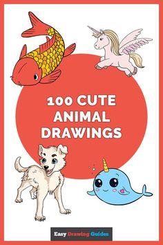 Easy Animals, Cute Animals, Animals For Kids, Easy Animal Drawings, Easy Drawings, Drawing For Beginners, Drawing Tutorials, Art Tutorials, Drawing Ideas
