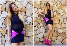 ♥ LOOK OF THE DAY 22-09-2012 ♥  ♥ Spikes Tee  ♥ Mini Triangulos Fucsia  ♥ Calu Vip Fucsia Charol