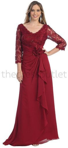 Long Sleeve V Neck Lace Floor Length Mother Of Bride Ruffles Plus Size Formal - The Dress Outlet - 7