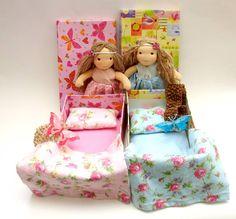 cute waldorf dolls: custom maded dolls for sisters