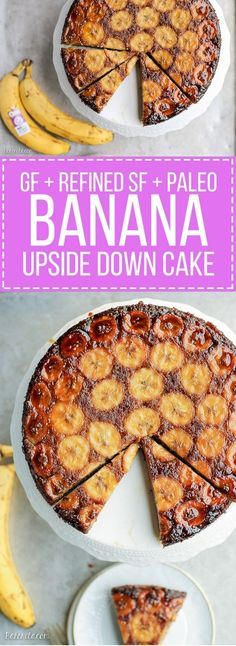 This Paleo Banana Upside Down Cake is an impressive and delicious cake that's gluten-free and refined sugar free. Sweetened almost entirely with bananas, this is a banana lover's dream! Add nutmeg and make with honey or molasses Paleo Dessert, Dessert Sans Gluten, Paleo Sweets, Gluten Free Desserts, Dessert Recipes, Healthier Desserts, Dessert Cups, Picnic Recipes, Yummy Recipes