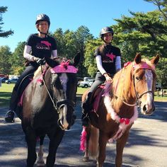 """Alana S. and Kristen P. in their """"Heels Down & Hold On"""" eventing tees on a breast cancer fundraiser trail ride."""