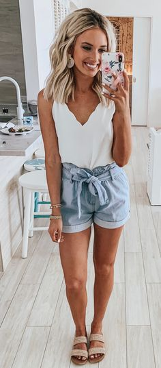 Sweet dresses, tops, shoes, jewelry & clothing for women, # for Over 100 cute and trendy outfit ideas for summer # for ideas 25 Impressive summer outfits Ideas to copy as soon as possible summer outfits summer fashion spring outfits 58 Casual … Casual Outfits For Teens, Cute Summer Outfits, Spring Outfits, Blue Outfits, Teen Outfits, Outfits With White Shorts, Summer Clothes, White Shorts Outfit Summer, Tank Top Outfits