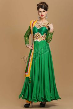 Green Viscose Long Anarkali Churidar Suit Design No. 1528 Price: 6,320 Dress Type: Anarkali Churidar Suit Fabric: Viscose Colour: Green Embellishments: Designed with Dupion silk yoke with zari, resham, naski, dabka& zircon embroidery For More Details: http://www.topkart.in/salwar-kameez/anarkali-suits/green-viscose-long-anarkali-churidar-suit.html