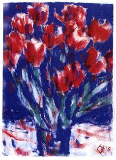 Christian Rohlfs: Rote Tulpen, 1926, Deckfarben, 71,3 x 51,3 cm, monogrammiert und datiert u.r. CR
