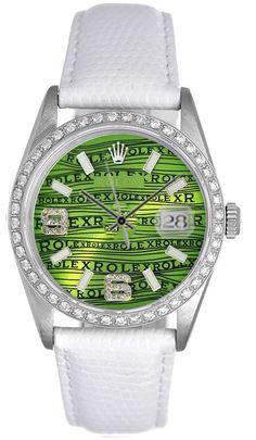 Rolex Datejust Mens Steel on Strap Green Wave Dial & Diamond Bezel
