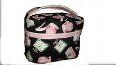 Pink and Black Cosmetics bag by gogothabo on Etsy