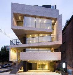 l'eau design creates faceted bati-rieul commerical building in seoul