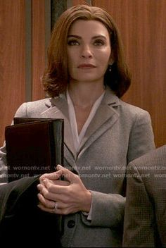 Alicia's grey blazer with layered collar on The Good Wife.  Outfit Details: https://wornontv.net/54028/ #TheGoodWife