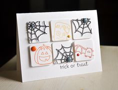 simple white card squares on a white card let these colorful images stand out on this handmade Halloween card. Dimensional spider webs and black brads are on 3 blocks, and the other 3 each feature a fun single-color stamp and matching brad. Fall Cards, Holiday Cards, Christmas Cards, Halloween Cards, Fall Halloween, Halloween Birthday, Halloween Projects, Halloween Ideas, Scrapbook Paper Crafts