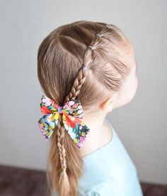 Feb 2018 - Diagonal elastics into a braid pulled into a side ponytail! Little Girl Ponytails, Easy Little Girl Hairstyles, Girls Hairdos, Baby Girl Hairstyles, Princess Hairstyles, Cute Hairstyles, Wedding Hairstyles, Toddler Hairstyles, Teenage Hairstyles