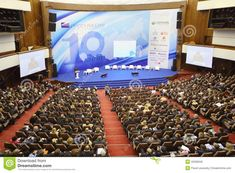 moscow - november stage and audience at forum small business - new economy dedicated to anniversary of organization opora of russia on november 14 2012 in moscow russia. Moscow Russia, Photo Editing, Royalty Free Stock Photos, Stage, November, Anniversary, Pictures, Sky, Organization