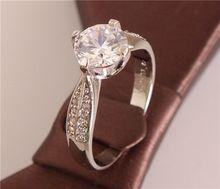 Hot sale 1 pc 18K White gold filled shiny elegant simple stylish lady's jewelry wedding ring for gifts size 7-9(China (Mainland))