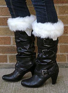 Womens Girls Winter Warmer Leg Crochet Knit Fur Fluffy Trim Boot Socks Cuffs New