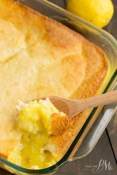 """Easy Lemon Lava Cake recipe -A fresh and light lemon dessert, with a creamy lemon pudding on the bottom and a light souffle-like """"cake"""" topping. A perfect meal-ender. Reminds me of Lemon Pudding Cake Köstliche Desserts, Delicious Desserts, Dessert Recipes, Yummy Food, Easy Lemon Desserts, Pudding Desserts, Lava Cake Recipes, Lava Cakes, Lemon Recipes"""