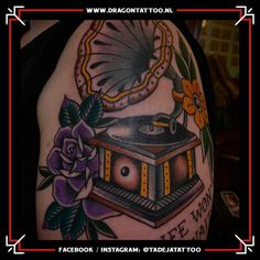 Gramophone player Tattoo. On the outside of the upper arm.  Designed and Tattooed by: Tadeja Dragon Tattoo Tattoo Portfolio, First Tattoo, Color Tattoo, The Outsiders, Arms, Dragon, Tattoos, Tatuajes, Tattoo