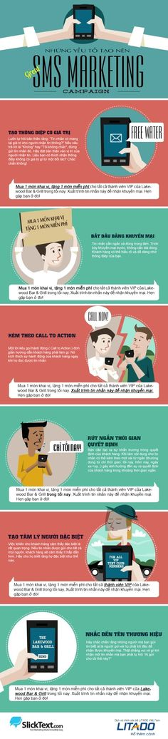 06 Yếu Tố Để Tạo Nên Một Chiến Dịch SMS Marketing Thành Công 1. Tạo ra thông điệp có giá trị. 2. Bắt đầu tin nhắn bằng thông điệp chính. 3. Có chứa lời kêu gọi hành động trực tiếp. 4. Tạo ra cảm giác thôi thúc cấp bách. 5. Làm cho người dùng cảm thấy mình đặc biệt 6. Nhắc tới tên thương hiệu của bạn