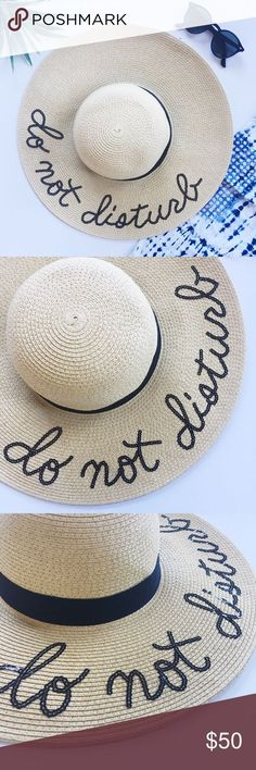 Do Not Disturb Sequin Sun Beach Hat Going on a warm vacation? You NEED this sun hat! Black sequin lettering with black band trim. The materials is pretty forgiving and can be pressed into a suitcase without damaging the shape. One size. So perfect for pool or beachside photos! New! Accessories Hats