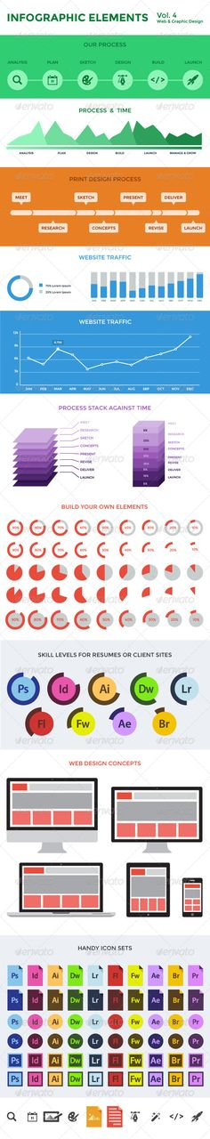"""Infographic Elements - Vol. 4  #GraphicRiver         This is a set of infographic elements, designed as a """"flat design,"""" aimed at saving you time"""